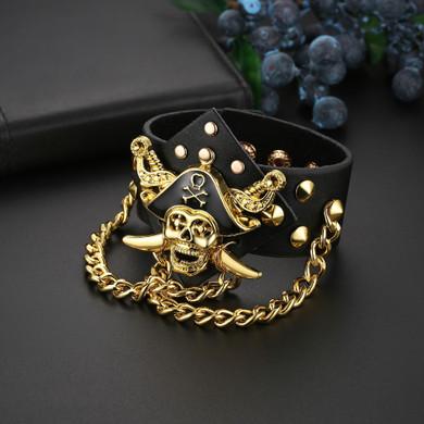 Men's Genuine Leather 14k Gold 925 Silver Rivet Street Rock Pirate Skull Hip Hop Bracelet