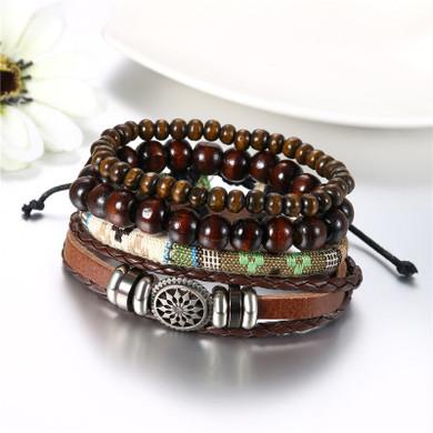 Street Wear Fashion Wooden Beaded Black Brown Leather Bracelets