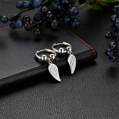 14k Rose Gold Rainbow Color Angel Wings Huggie Style Hoop Stainless Steel High Fashion Earrings