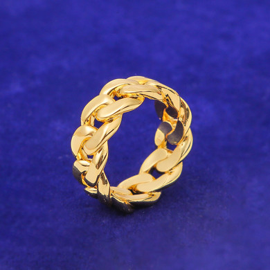 18k Yellow Gold White Gold Street Wear Cuban Link Hip Hop Ring