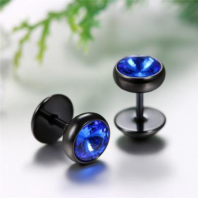 Stainless Steel Blue Black Ice Barbell Stud Earrings