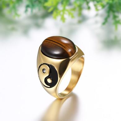 Men's 14k Stainless Steel Retro Tigers Eye Stone Ying Yang Tai Chi Bling Ring
