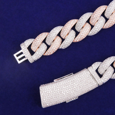 Rose & White Gold Flooded Iced Clasp 20mm Hip Hop Two Tone Miami Cuban Link Chain Necklace
