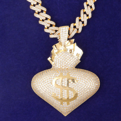18k White Yellow Gold Large Money On My Heart Bag Hip Hop Street Wear Pendant