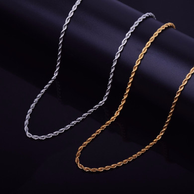 14k Over Solid Stainless Steel Hip Hop Casual Fashion Rope Link Chain Necklace