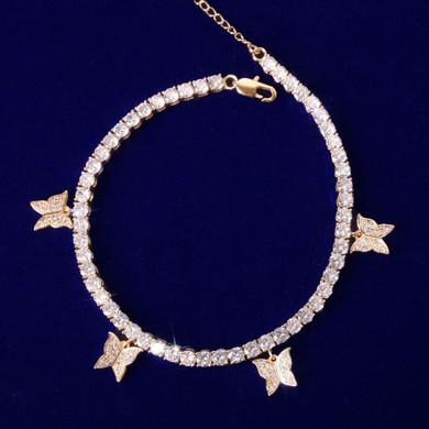 24k Gold 925 Silver Rose Gold 4mm Butterfly Adjustable Tennis Bracelets