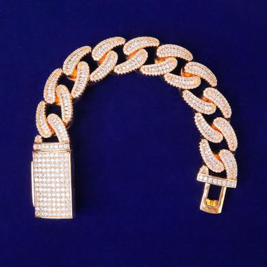 Men's True Ice 3A Micro Pave Baguette Stone 24k Gold | White Gold Bracelets