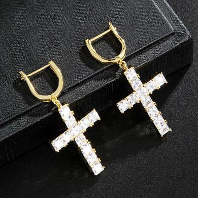Hip Hop Micro Paved Designer Huggie Cross Flooded Ice Bling Earrings