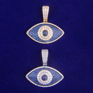 3A True Micro Pave Flooded Ice All Seeing Eye Hip Hop Pendant Chain Necklace
