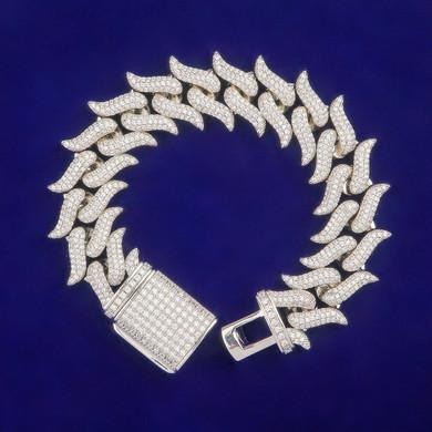 5A 18mm Fire Boy Flame Hot Boy 24k Gold .925 Silver Flooded Ice Hip Hop Cuban Link Bracelet