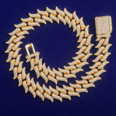 24k 5A 8mm Street Wear Fire Hot Boy 24k Gold 925 Silver Hip Hop Chain Necklace