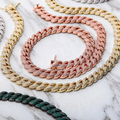 Ladies 9mm Colorful Cuban Link 3A Micro Pave High Fashion Chain Necklaces