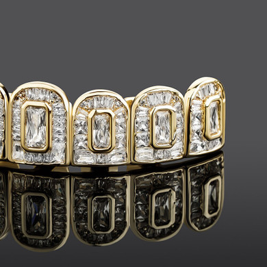 New All Baguette Flooded Ice Hip Hop Micro Pave Teeth Grillz Set