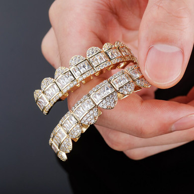 14k White Yellow Gold New Baguette Flooded Ice Bling Hip Hop Teeth Grillz Top & Bottom Set Combo