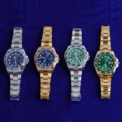 Men's Flooded Ice Bezel Presidential Hip Hop Stainless Steel Bling Wrist Watch
