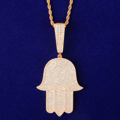 Star Studded 5A Simulate Diamond Large Hamsa Hand Hip Hop Pendant Chain Necklace