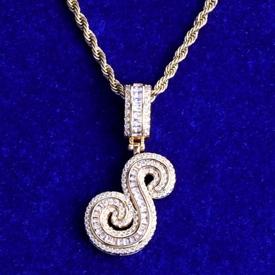 White Yellow Gold Iced Cursive Initial Letter Baguette Street Wear Pendant Chain Necklace