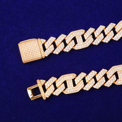 Mens Hip Hop Baguette Cluster Stone Mix Bling 18mm Cuban Designer Link Bracelet