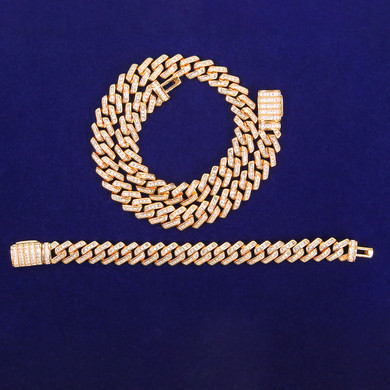 Hip Hop 24k Yellow 14k White Gold 11MM Baguette Chain Bracelet Jewelry Set
