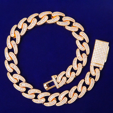 Iced 24k Yellow 14k White Gold 18MM 5A Bling Miami Cuban Link Chain Bracelet Hip Hop Jewelry Set