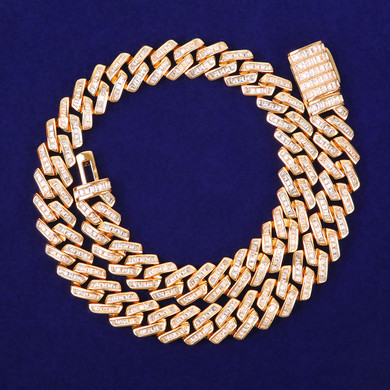 3A Flooded Ice 11mm Solid Baguette 24k Yellow 18k White Gold Miami Cuban Link Chain