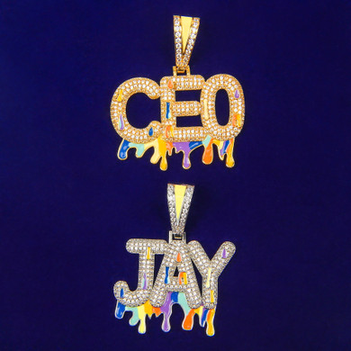 5A Flooded Ice Glow in The Dark Graffiti Bling Custom Name Hip Hop Pendants Chain Necklaces