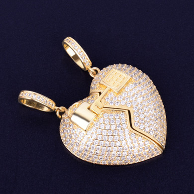 3A Flooded Ice Key To My Heart Lock Double Pendant Hip Hop Chain Necklace