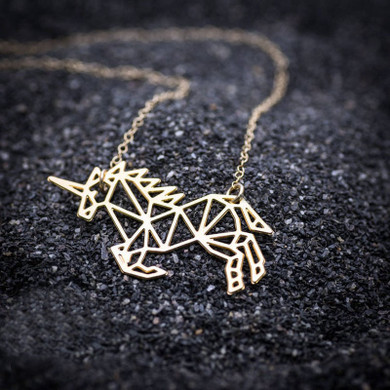 Ladies Boho Fashion Rose Yellow Gold Platinum over Stainless Steel Lucky Origami Unicorn Necklaces