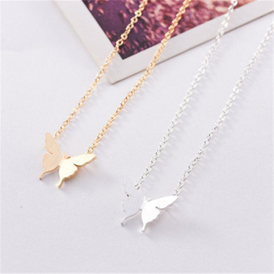 Ladies 14k Gold Over Stainless Steel Choker Dainty Butterfly Charm Chain Necklaces