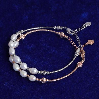 Ladies Street Wear High Fashion .925 Sterling Silver Rose Gold Designer Cut Pearl Bracelets