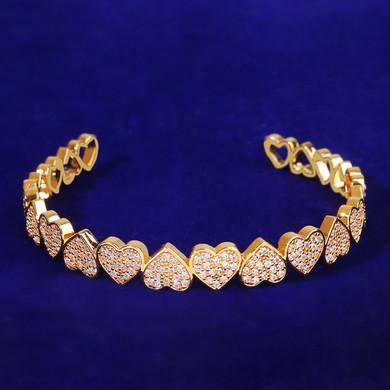 Ladies Adjustable Bling Platinum Rose Yellow Gold Bangle Flooded Ice Heart Bracelet