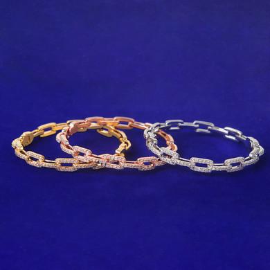 Flooded Ice Platinum Rose 24k Yellow Gold Hip Hop Square Link Bracelet