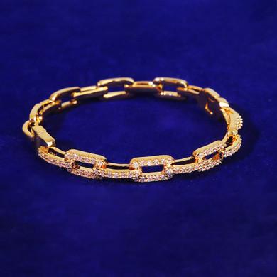 Flooded Ice 6mm Platinum Rose 24k Yellow Gold Hip Hop Square Link Bracelet
