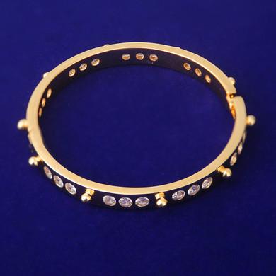 Women's Platinum Rose 24k Yellow Gold Bling Closed Bangle Bracelets