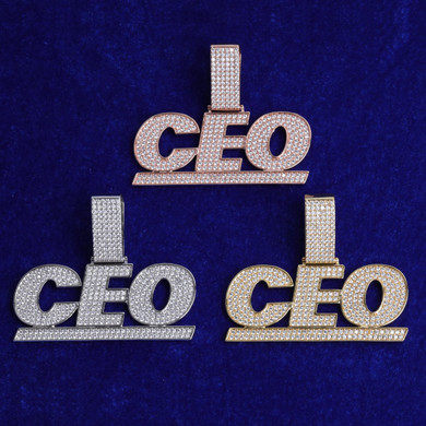 Boss Baller 5A Flooded Ice Hip Hop Custom Name Personalized Pendant Chain Necklace
