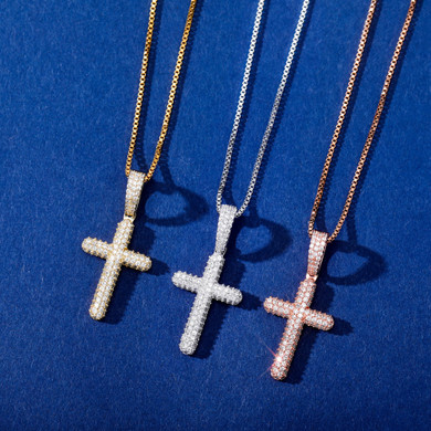 Flooded Ice Prong Set Cluster Stone Solid 925 Sterling Silver Iced Cross Bling Pendant Necklace