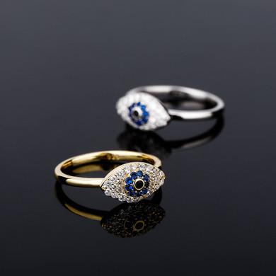 All Seeing Evil Eye Solid 925 Sterling Silver Vintage Look Bling Rings