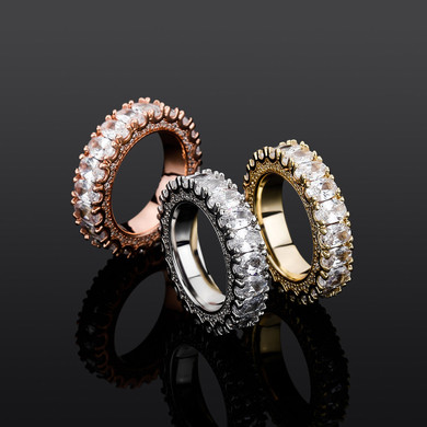 New 5A Simulate Diamond Flooded Ice Prong Set Oval Stone Bling Street Wear Rings