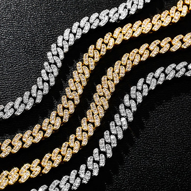 Flooded Ice 6mm Prong Set Spring Clasp Cuban Link Bling Chain Necklace