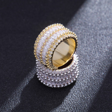 Flooded Ice 2 Row Solitaire Thick Baguette 14k Gold 925 Silver Bling Rings