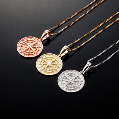 BlingJewelz Gold Platinum Solid Sterling Silver Compass Hip Hop Pendant Chain Necklace