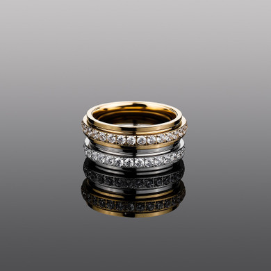 Flooded Ice Rotatable 14k Gold over Stainless Steel Casual Street Wear Rings