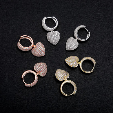 Ladies 5A Micro Pave Huggie Style Bling Bling Heart Earrings
