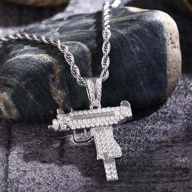 Flooded Ice 5A Prong Set Uzi Machine Hip Hop Pendant Chain Necklace