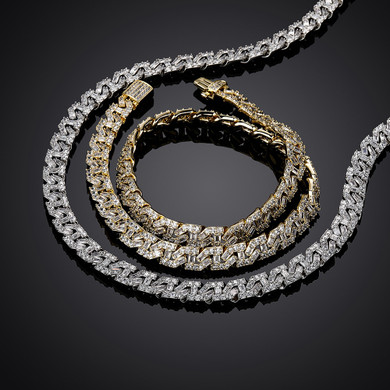 High Quality Spring Clasp 9mm Flooded Ice Baguette Designer Cuban Link Hip Hop Chain Necklace