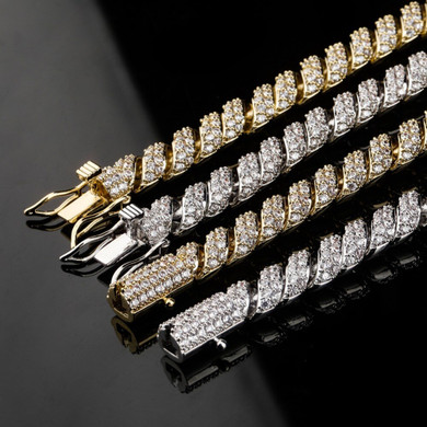 18k 10mm Flooded Ice Hip Hop AAA+ Twisted Bling Luxury Fashion Chain Necklace