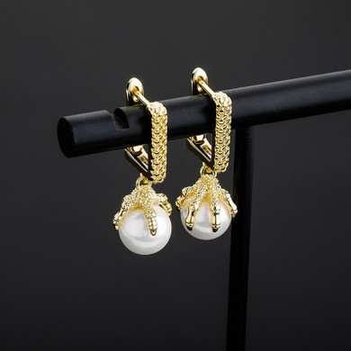 ladies Fashion Statement Dragon Claw Holding Pearl Bling 14k Gold 925 Silver Earrings