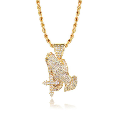 Flooded Ice Micro Pave Prayer Hands Cross Hip Hop 14k Gold Pendant Chain Necklace