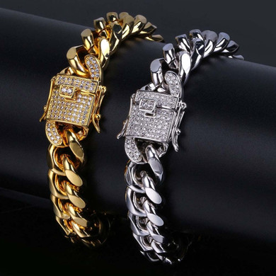 Hip Hop Casual 12mm 14k Gold over Stainless Steel Cuban Chain Bracelet With 1ct Simulate Diamond Clasp