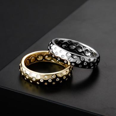 Ladies Night Sky Twilight Deep Set Stone Bling 14k White Yellow Gold Rings